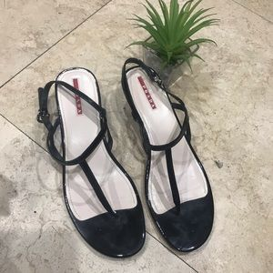 Prada black patent halter Demi wedge sandals